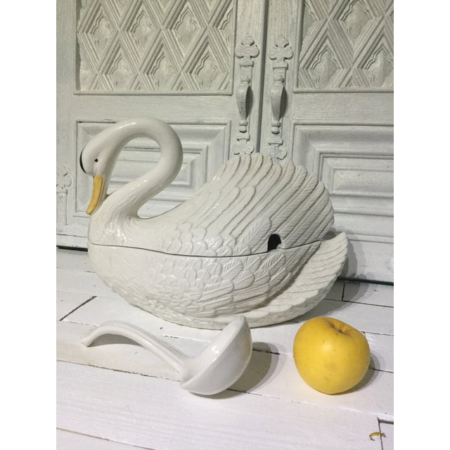 Vintage 1960s Italian Glazed ceramic swan tureen with ladle, very nice center piece in holidays or a family dinner, three...