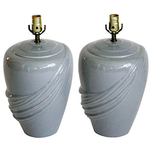 Vintage Draped Gray Lamps - A Pair For Sale In Chicago - Image 6 of 6
