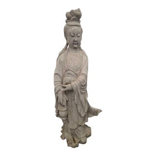 Antique Kwan Yin Cement Garden Statue For Sale