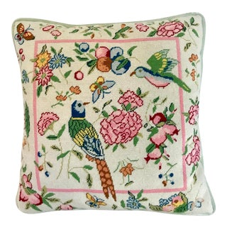 1960s Vintage Needlepoint Chinoiserie Pillow For Sale