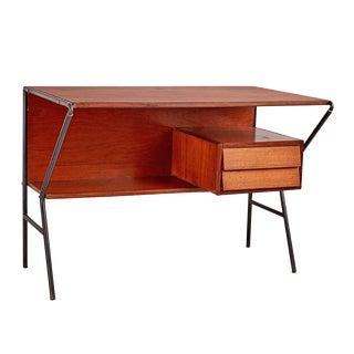 Italian Mid-century Desk W/ Steel Frame & Louvered Drawers Circa 1950s