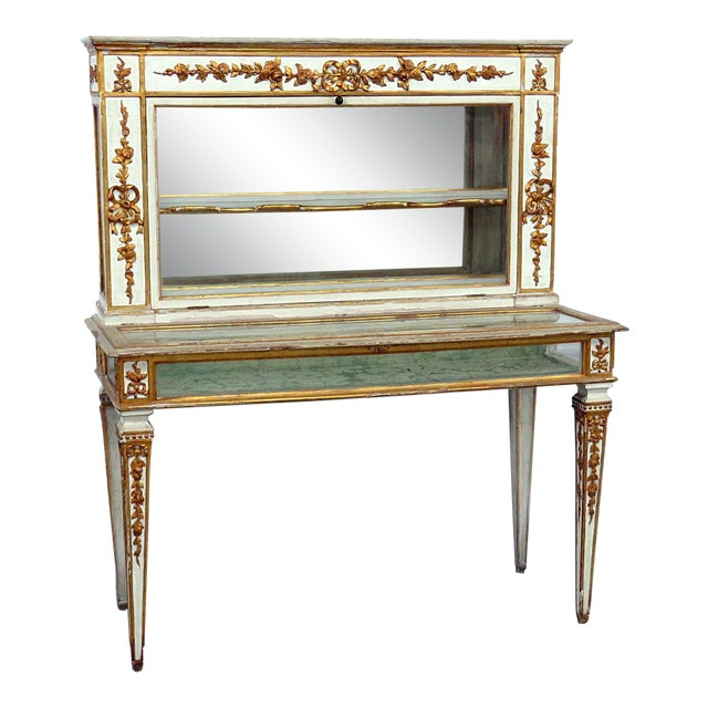 Antique Venetian Distressed Painted Display Case For Sale