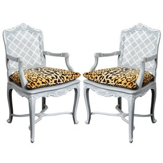 French Painted Regence Style Caned Chairs With Leopard Velvet Print