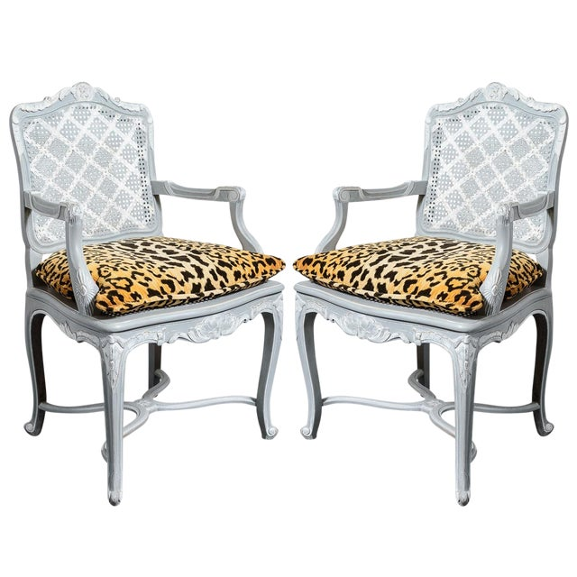 French Painted Regence Style Caned Chairs With Leopard Velvet Print For Sale