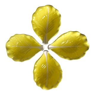 Vintage Yellow Cabbage Leaf Majolica Bowls-Set 4 For Sale