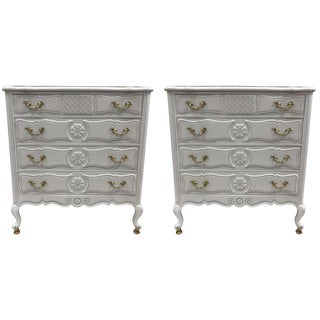 Pair of French Country Style Marble-Top Commodes For Sale