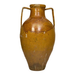 Early 20th Century Large Yellow Glazed Olive Jar For Sale