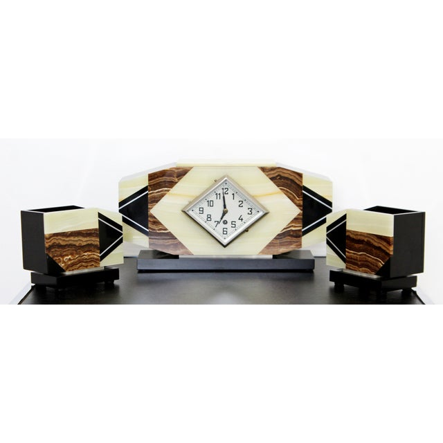 Art Deco Nouveau Marble & Onyx Mantle Clock W Matching Bookends For Sale - Image 9 of 9