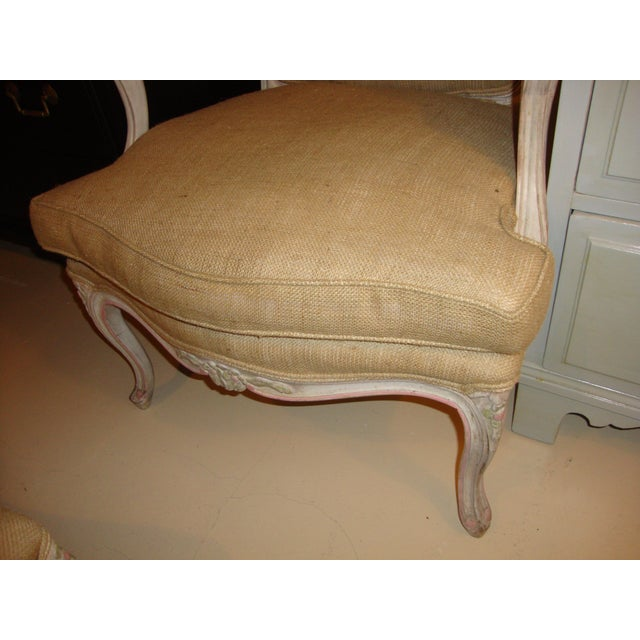 Louis XVI Style Paint Decorated Bergère Armchair For Sale - Image 7 of 9