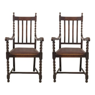 Pair of English Oak Barley Twist Chairs