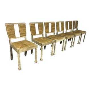 Jean Charles Moreux Superb Set of 6 Chairs in Coursed Oak & Rush For Sale