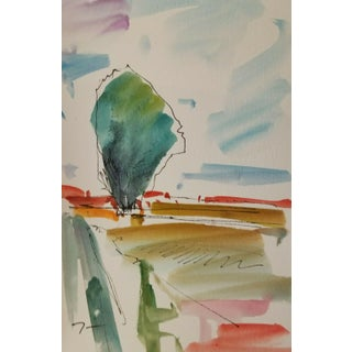 Jose Trujillo New Original Vertical Format Expressionism Watercolor Painting - 6x9 For Sale