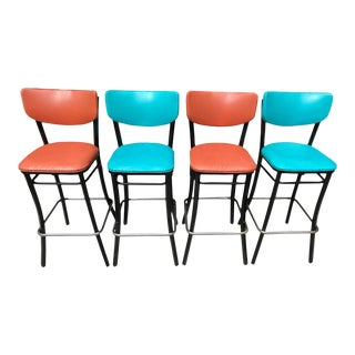 Mid Century Turquoise & Salmon Coral Tall Metal Bar Stools - Set of 4 For Sale