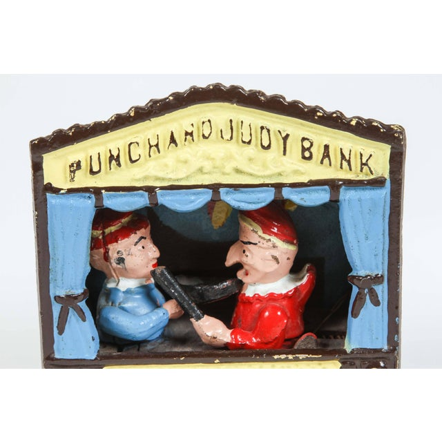 Blue Cast Iron Punch and Judy Bank For Sale - Image 8 of 8