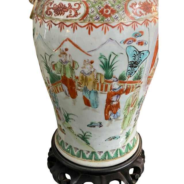 19th Century 19th Century Chinese Qing Canton Porcelain Lamps - a Pair For Sale - Image 5 of 8