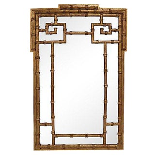 La Barge Gold-Leaf Faux Bamboo Wall Mirror For Sale