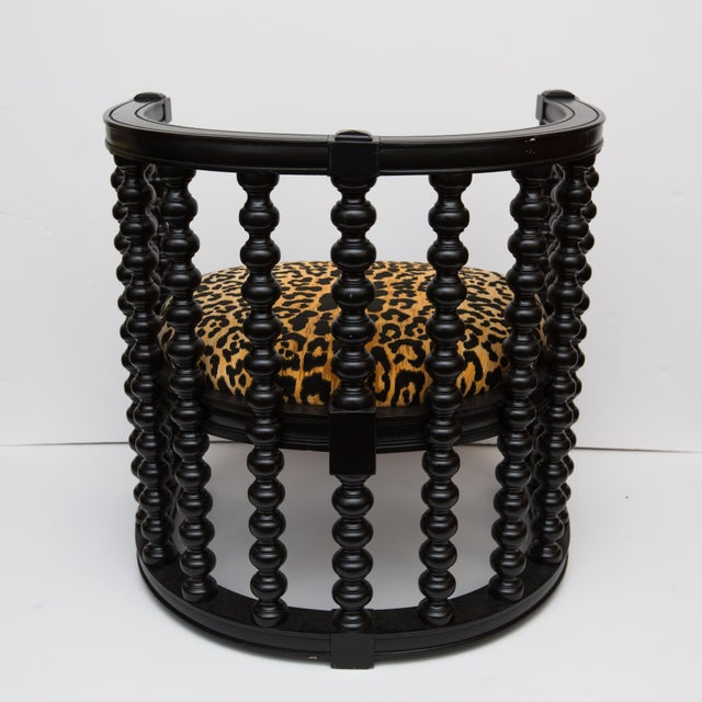 Spindle Back Barrel Faux Leopard Chairs - Pair - Image 5 of 8