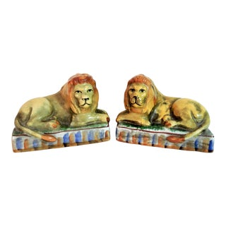 Mid 19th Century Antique Staffordshire Luster Ware Recumbent Mantle Lions- a Pair For Sale