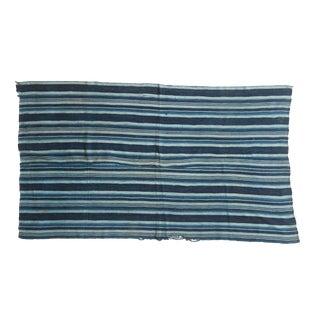 Vintage Striped Indigo African Textile Throw For Sale