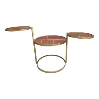 Mid Century Modern Gold Colored Swivel Side Table / Plant Stand For Sale