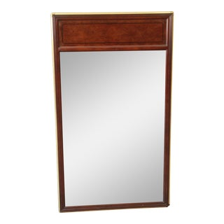 Baker Furniture Hollywood Regency Campaign Burl Wood and Brass Framed Mirror For Sale