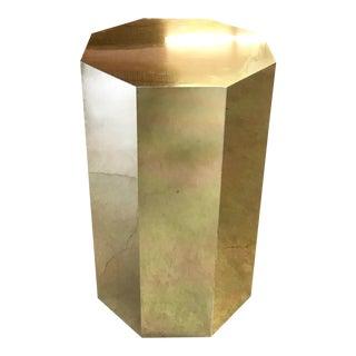 Octagonal Brass Pedestal Side Table