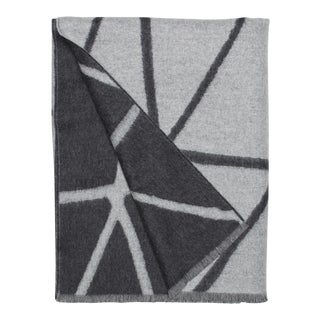 Valley Link Lambswool Cashmere Throw, Gray Geometric For Sale
