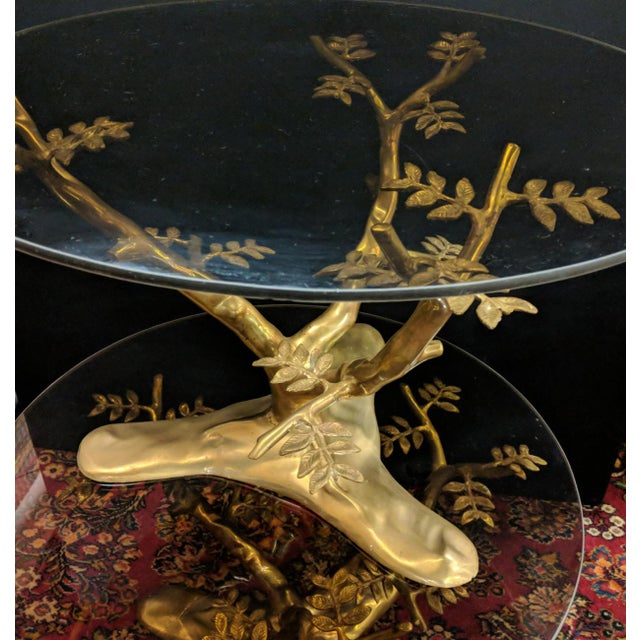 1960s Willie Daro Inspired Mid Century Modern Brass Tree Leaves Glass Top Table Set of 2 For Sale - Image 5 of 9