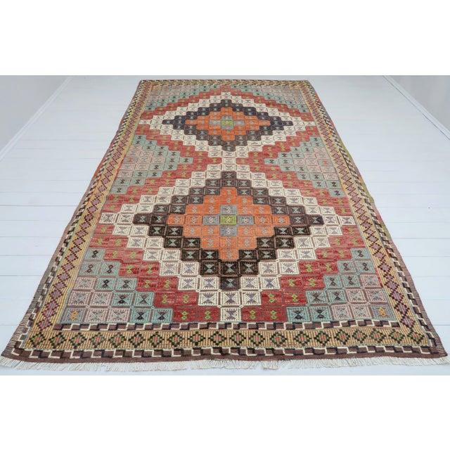 Textile Vintage Turkish Kilim Rug-6′ × 12′8″ For Sale - Image 7 of 13