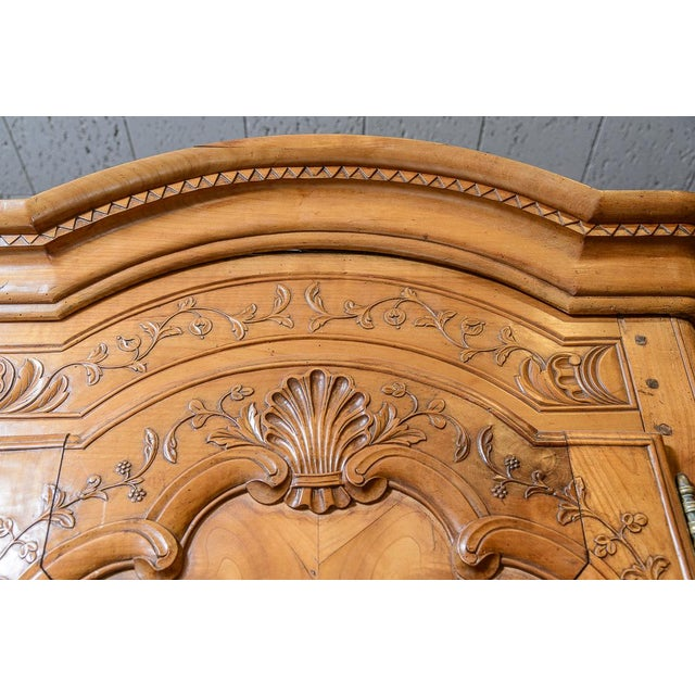 Mid 18th Century French Cherry Double Dome Armoire For Sale In West Palm - Image 6 of 8