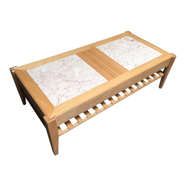 Studio Solid Oak & Pink Marble Insert Coffee Table For Sale