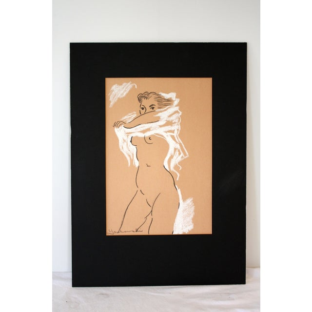 Midcentury Nude Charcoal Drawing - Image 2 of 5