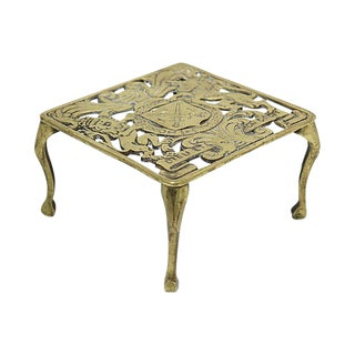 Antique English Brass Royal Crest Trivet For Sale