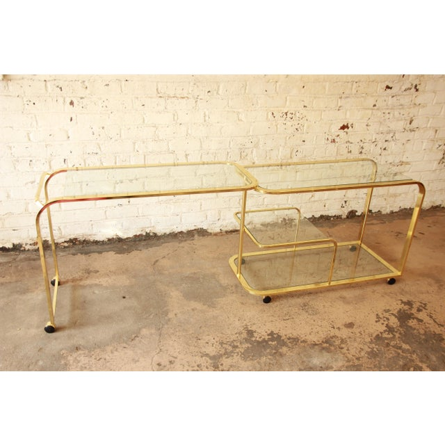 Brass Milo Baughman for Dia Expandable Brass and Glass Bar Cart For Sale - Image 7 of 11