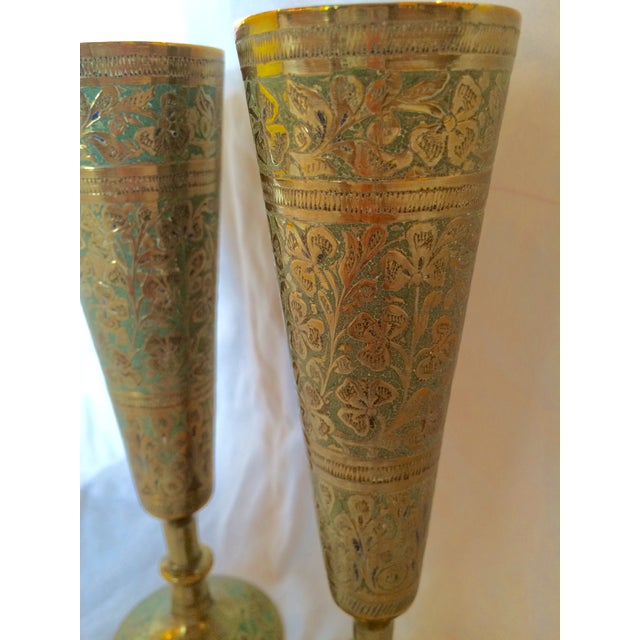Brass Champagne Flutes - A Pair - Image 7 of 7