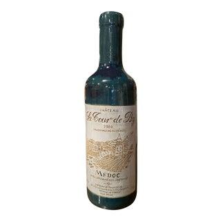 Tall Vintage French Trompe l'Oeil Ceramic Methuselah Wine Bottle of Bordeaux For Sale