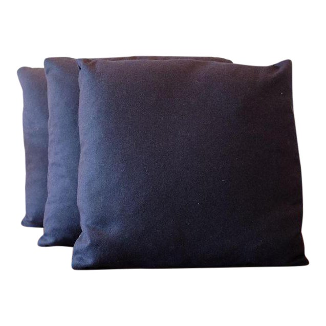 Italian Indigo Wool Pillow Covers - Set of 3 - Image 1 of 3