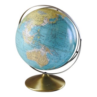 Mid Century Rand McNally World Globe Double Rotating Axis For Sale