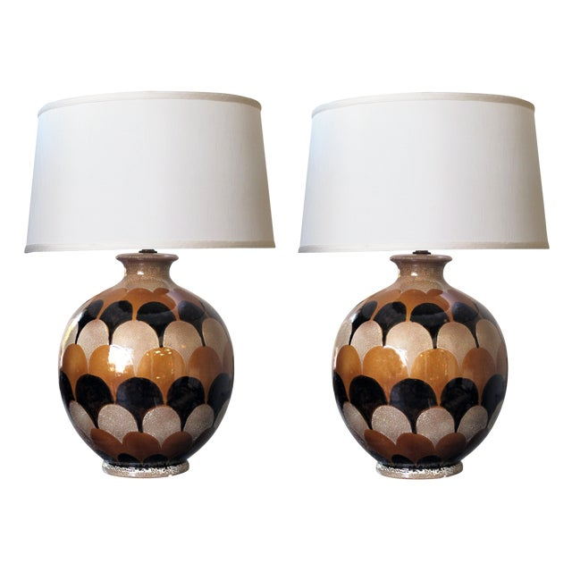 A bold pair of Italian 1970's handmade ovoid-shaped ceramic lamps with imbricating glaze For Sale