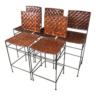 Set of 5 Iron & Leather Barstools For Sale