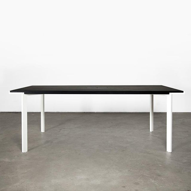Contemporary White Powder-Coated Steel and Ebonized Maple Trace Table For Sale In New York - Image 6 of 6