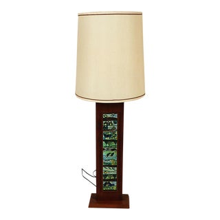 Harris Strong Mid Century Wood Tile Lamp For Sale