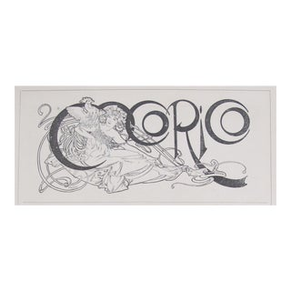 Original Art Nouveau Alphonse Mucha Masthead Illustration, Cocorico