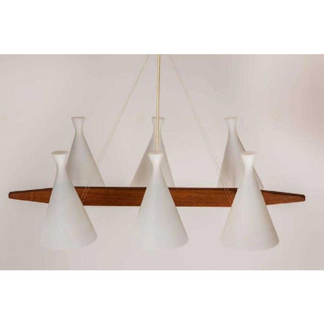 Swedish Mid-Century Modern 6-Arm Chandelier For Sale - Image 4 of 8