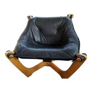 Late 20th Century Vintage IMG International Black Leather Luna Low-Back Chair For Sale
