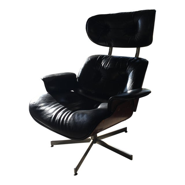 Eames-Style Black Lounge Chair - Image 1 of 4