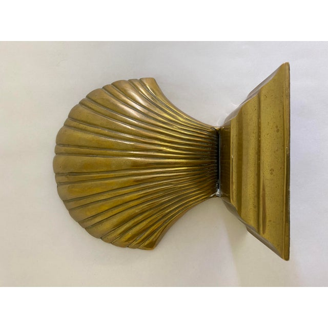 Brass Finished Scallop Shell Bookends- a Pair For Sale - Image 4 of 7