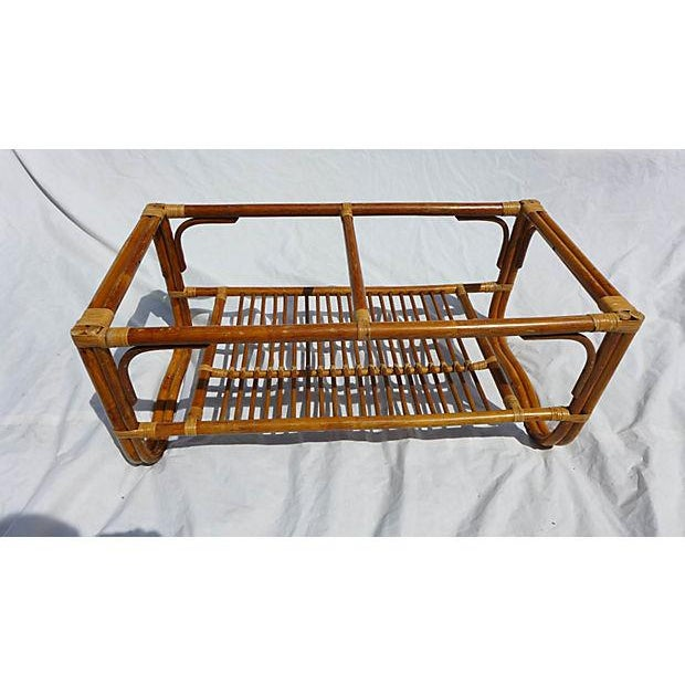 70's Albini Style Rattan Coffee Table With Glass For Sale In New York - Image 6 of 8