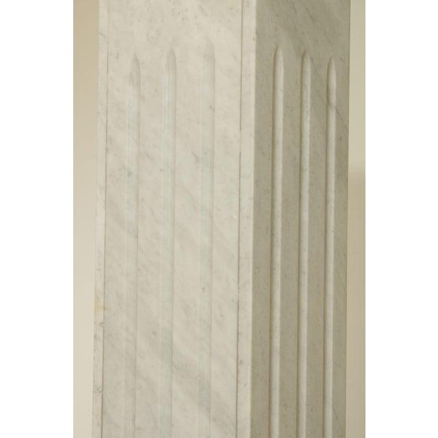 "Italian Carrara Marble 56"" Column Pedestal For Sale - Image 10 of 13"