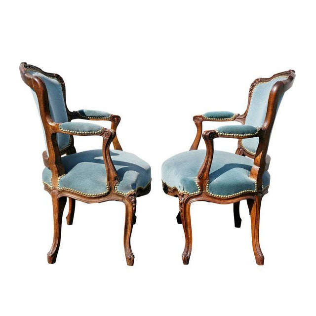 Wood Pair of Louis XV Style Walnut Fauteuil For Sale - Image 7 of 11